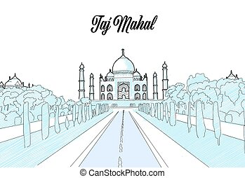 Taj Mahal Travel Sketch. Hand drawn outline illustration for...