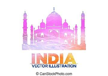 Taj Mahal vector symbol design red color polygonal mosaic style.Monument of Love at India.