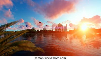 Taj Mahal, view from Yamuna River, hot air balloons flying...