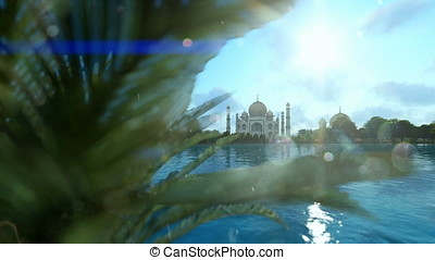 Taj Mahal, view from Yamuna River, aircraft passing against...