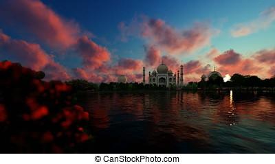 Taj Mahal with beautiful lake reflections, timelapse sunrise...