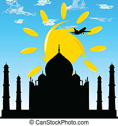 taj mahal with plane blue sky illustration