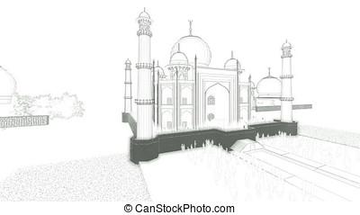 Taj Mahal with tourists, sketch on white, drone flight 4K