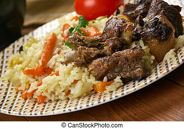plov dushanbe, Tajik cuisine, Traditional assorted Tajik dishes, Top view.