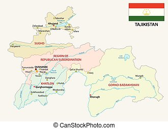 tajikistan administrative and political vector map with flag