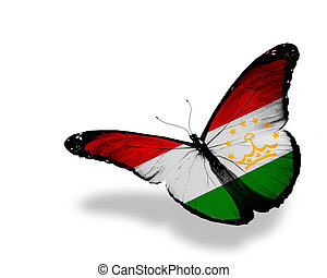 Tajikistan flag butterfly flying, isolated on white background