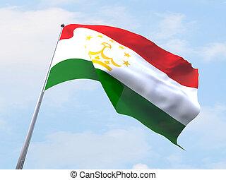 Tajikistan flag flying on clear sky.