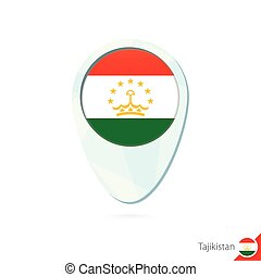 Tajikistan flag location map pin icon on white background....