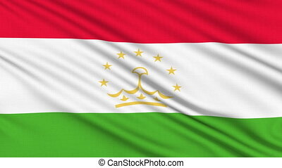 Tajikistan Flag, with real structure of a fabric