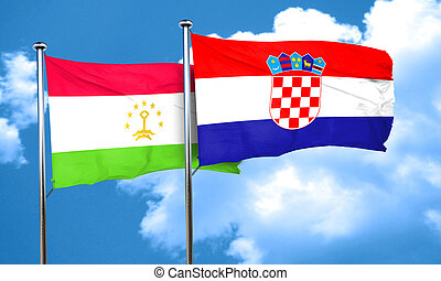 Tajikistan flag with Croatia flag, 3D rendering