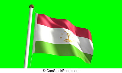 Tajikistan flag (with green screen)