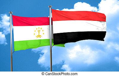 Tajikistan flag with Yemen flag, 3D rendering