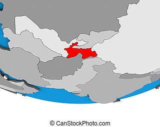 Tajikistan on 3D globe