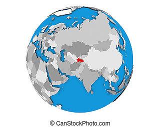 Tajikistan on globe isolated