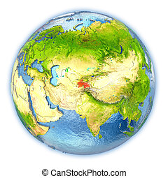 Tajikistan on isolated globe