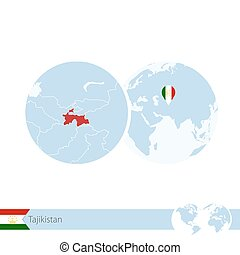 Tajikistan on world globe with flag and regional map of...