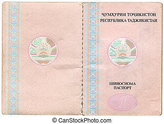 Tajikistan passport, page for visa marks