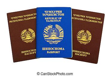 Tajikistan passports on white background