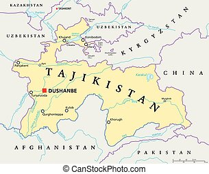 Tajikistan Political Map tajikistan