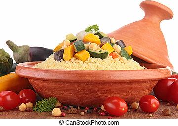 tajine, com, vegetariano, couscous