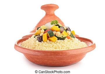 tajine, con, vegetariano, couscous