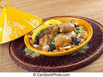 tajine, poulet, citron, marocain, confit