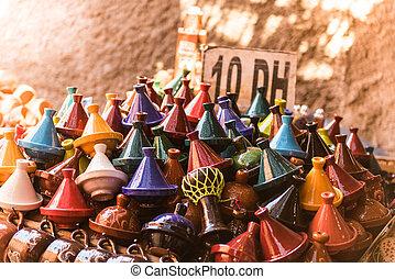 Tajine stall in a moroccan market