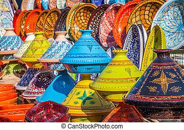 tajines, 在中, the, 市场, marrakesh