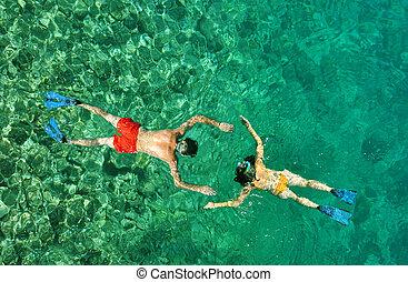 tajlandia, para, romantyk, snorkeling