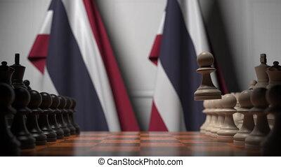 tajlandia, szachy, powinowaty, bandery, ożywienie, rywalizacja, ręczy, polityczny, 3d, gra, albo, chessboard., za