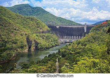tak, 力, hydro, thailand., ダム, 電気である
