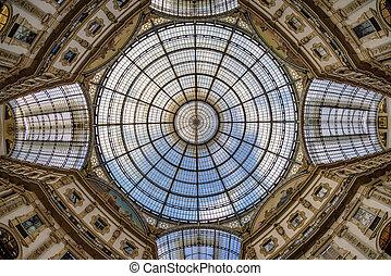 tak, av, köpcenter, in, milan, italien