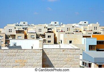 tak, blåttsky, under, lägenhet anläggningar, gul, lägenhet, färsk
