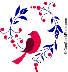 tak, bloemen, zittende , vogel, rood