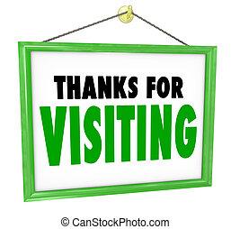 tak, by, besøge, hængende, butik underskriv, kunde,...