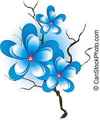 tak, met, roze, blauwe bloemen