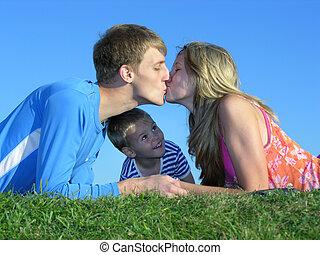 tak, pocałunek, ojciec