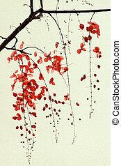 tak, van, rood, blossom , op, met de hand gemaakt papieren