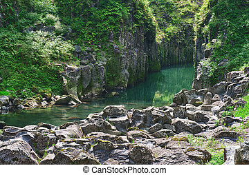 Takachiho gorge - Beautiful gorge Takachiho with a blue...