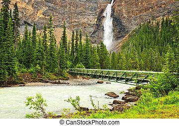 Takakkaw Falls waterfall and footbridge in Yoho National Park, British Columbia, Canada