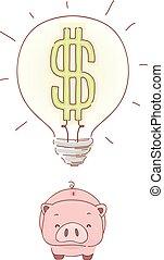takarékpénztár, falánk, ábra, gondolat