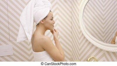 takarítás, fiatal, női arc