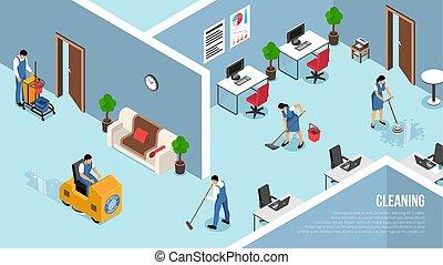 takarítás, isometric, szolgáltatás, kereskedelmi
