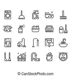 takarítás, set., ábra, ikon, vektor