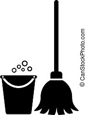 takarítás, vektor, eszközök, ikon