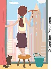 takarítás, windows, karikatúra
