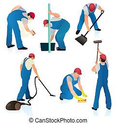 takarítónők, állhatatos, hat, profi