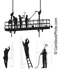 takarítónők, ablak, munka