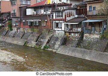 Takayama, Japan - town in Gifu prefeture of the region Chubu. Old houses by the river.