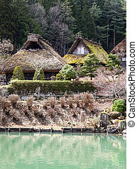takayama, -, tradicional, edifícios, -, japão